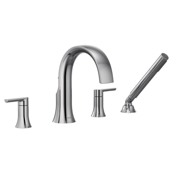Doux Double Handle Deck Mounted Roman Tub Faucet Trim with Handshower by Moen Moen