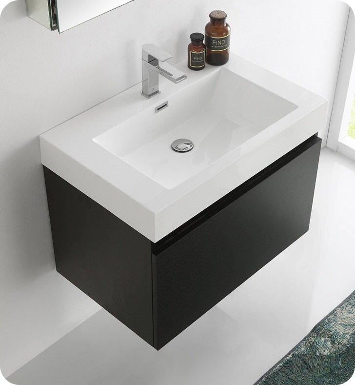 """fresca senza 30"""" mezzo single wall mounted modern bathroom vanity"""