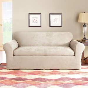 Stretch Suede Separate Seat Box Cushion Sofa Slipcover By Sure Fit Reviews