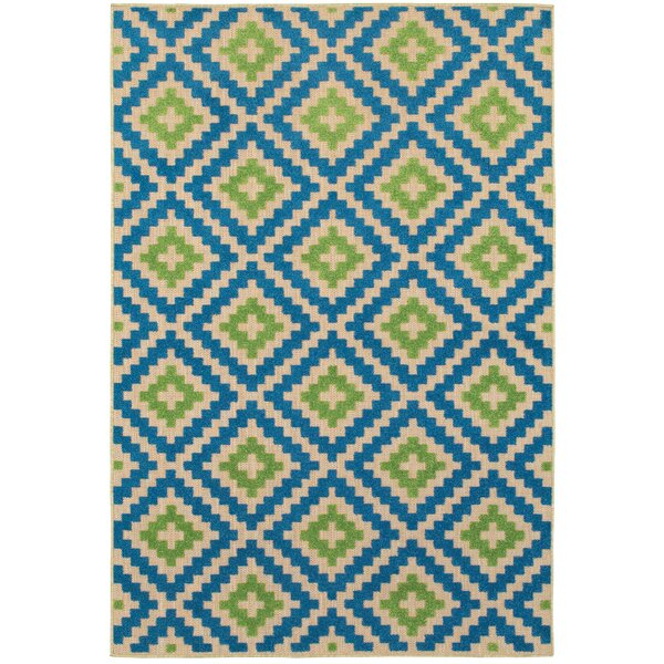 Barra Sand/Blue Outdoor Area Rug by Wrought Studio