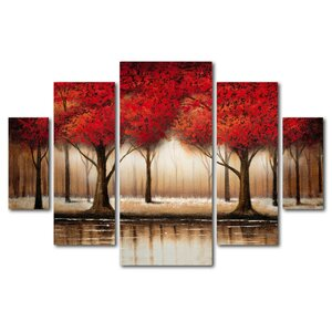 Parade of Red Trees by Rio Framed 5 Piece Set on Canvas by Trademark Fine Art
