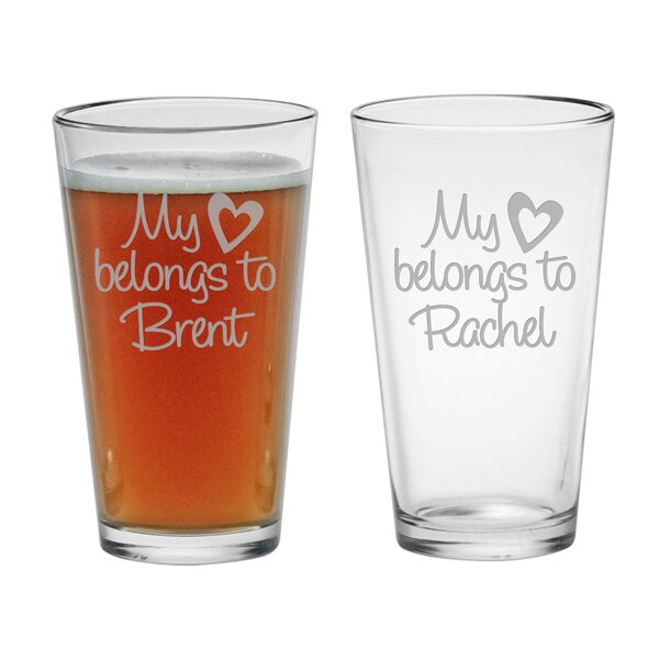 My Heart Belongs Pint Glass (Set of 2) by Susquehanna Glass