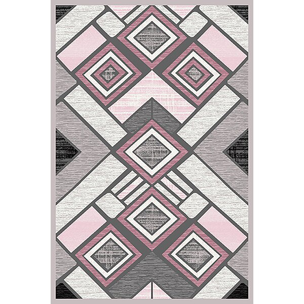 Mccampbell 3D Hand Carved Gray/Pink Area Rug by Ivy Bronx