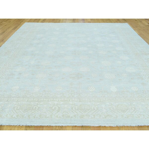 One-of-a-Kind Beaumont Samarkh Design Washed Out Handwoven Blue Wool Area Rug by Isabelline