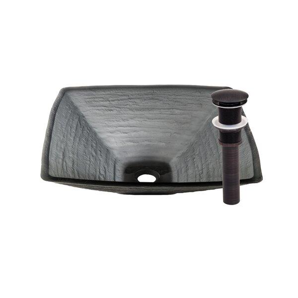 Croccante Glass Square Vessel Bathroom Sink by Novatto
