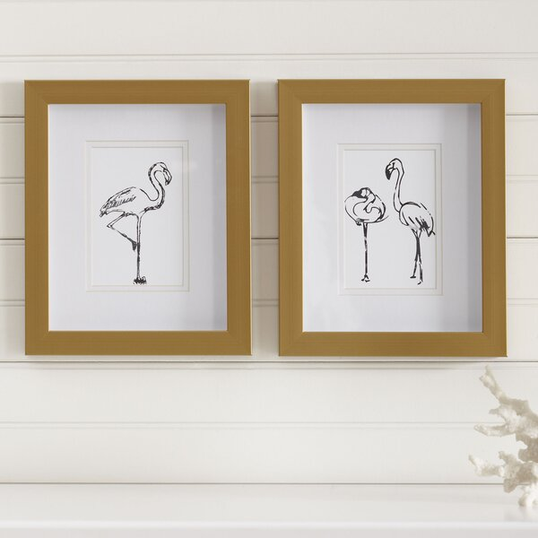Flamingo Pals Framed Prints (Set of 2) by Birch Lane Kids™