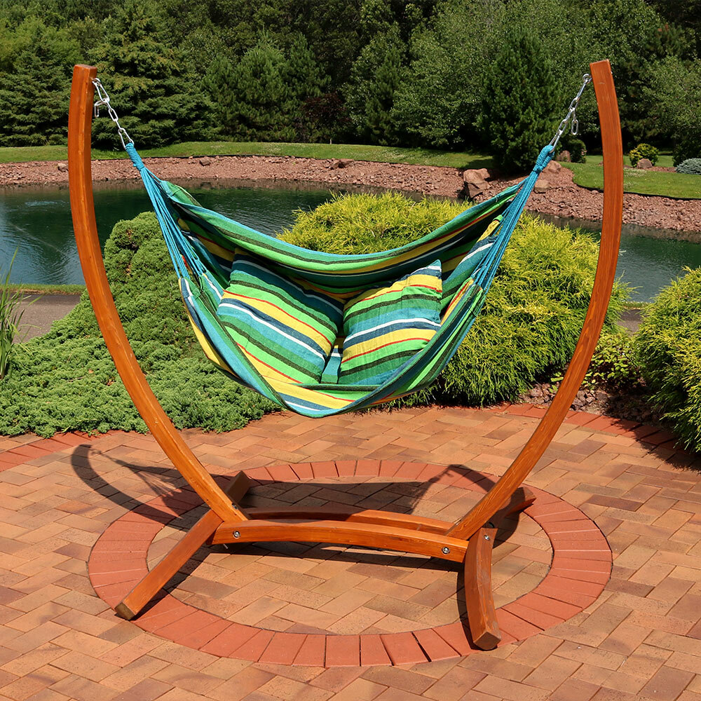 Freeport Park Barrett Hanging Hammock Chair Porch Swing With Stand | Wayfair