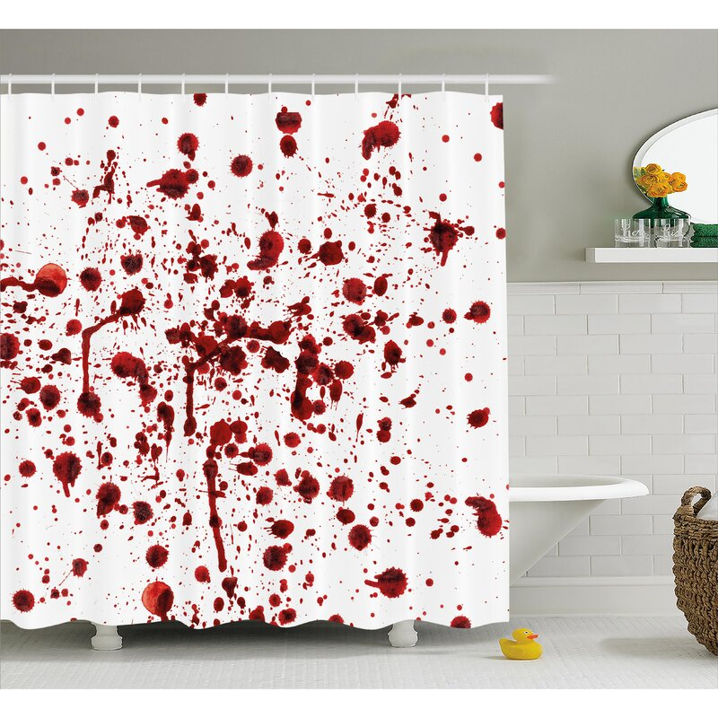 Bloody Splashes Of Blood Scary Shower Curtain
