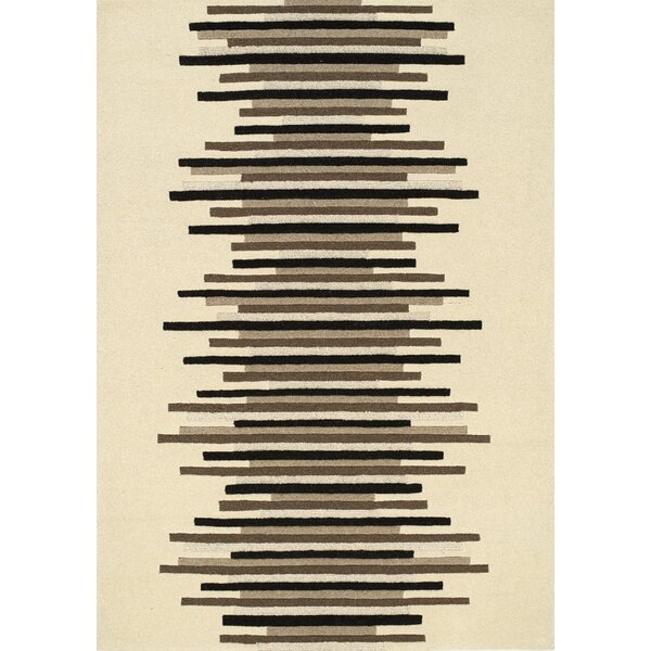 Elise Stacked Lines Cream/Brown Area Rug by Orren Ellis