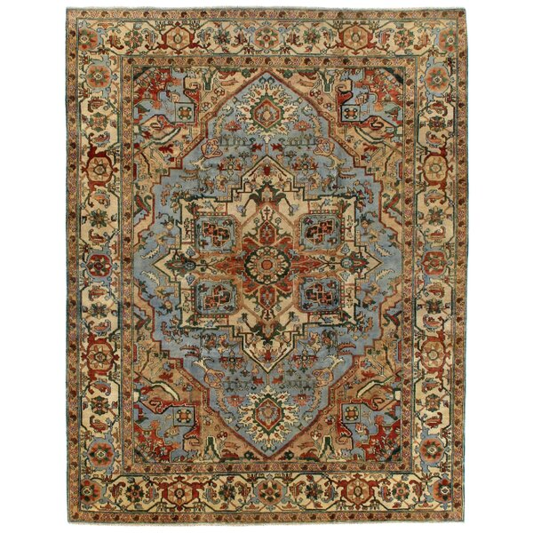 Serapi Hand-Knotted Wool Light Blue/Ivory Area Rug by Exquisite Rugs