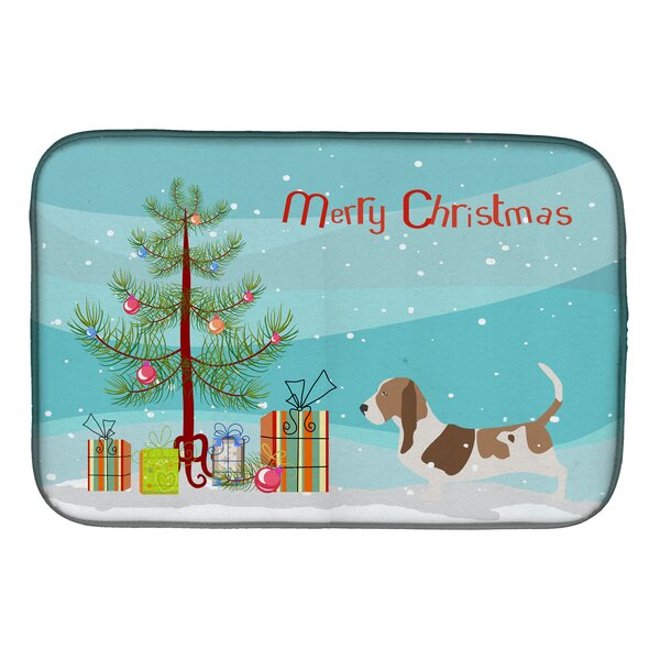 Basset Hound Merry Christmas Tree Dish Drying Mat by Caroline's Treasures