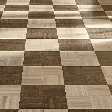 Millwork 12 Solid Oak Parquet Hardwood Flooring in High and Low Glossy Mystic Taupe by Armstrong Flooring
