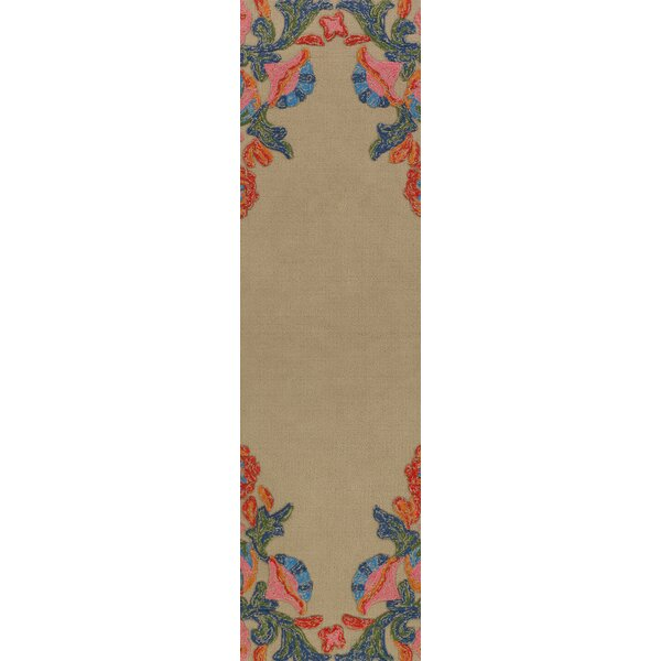 Dimaggio Hand-Tufted Carnation Pink/Navy Blue Indoor/Outdoor Area Rug by Bungalow Rose