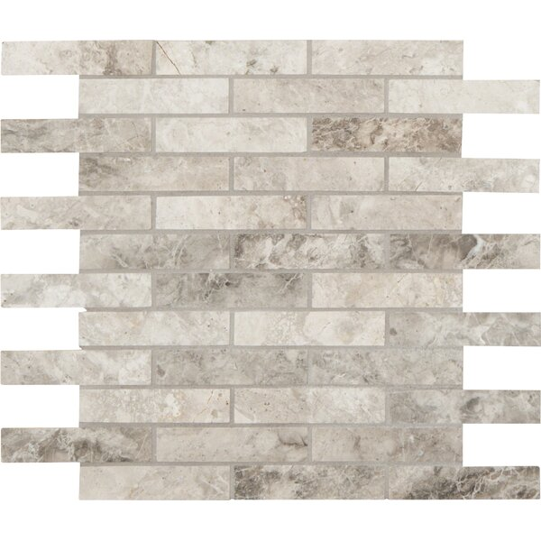 Tundra Polished 1 x 4 Marble Mosaic Tile in Gray by MSI