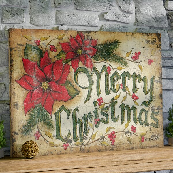 Merry Christmas Textual Art on Wrapped Canvas by T