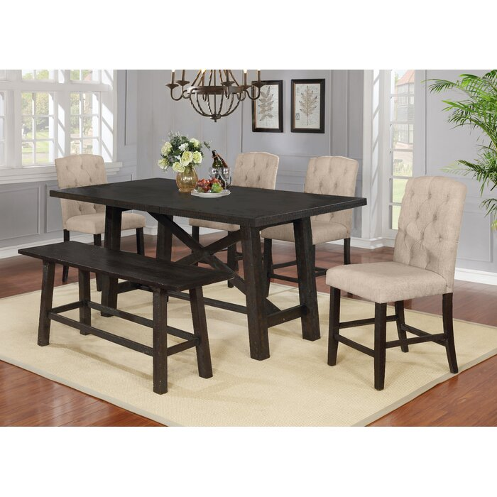 Trott 6 Piece Counter Height Solid Wood Dining Set