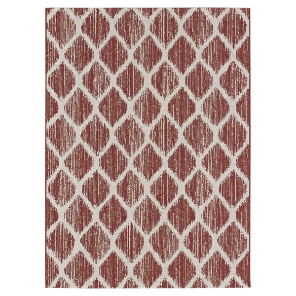 Steger Red/Ivory Indoor/Outdoor Area Rug by Bay Isle Home