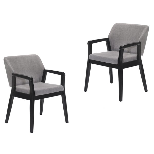 Warlo Upholstered Arm Chair in Gray (Set of 2) by Orren Ellis Orren Ellis