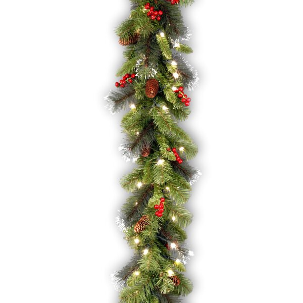 6 Foot Spruce Pre-Lit Faux Garland with 50 Clear Lights by Three Posts