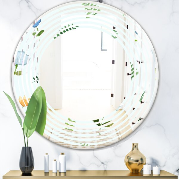Wave Floral IX Cottage Americana Frameless Wall Mirror