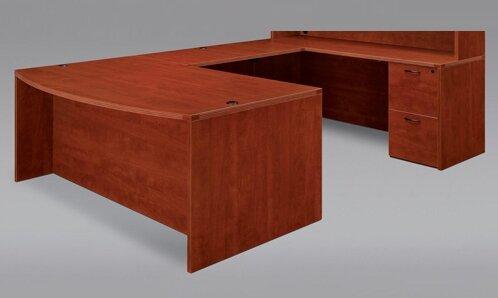 Fairplex Bow Front Corner Credenza U-Shape Executive Desk by Flexsteel Contract