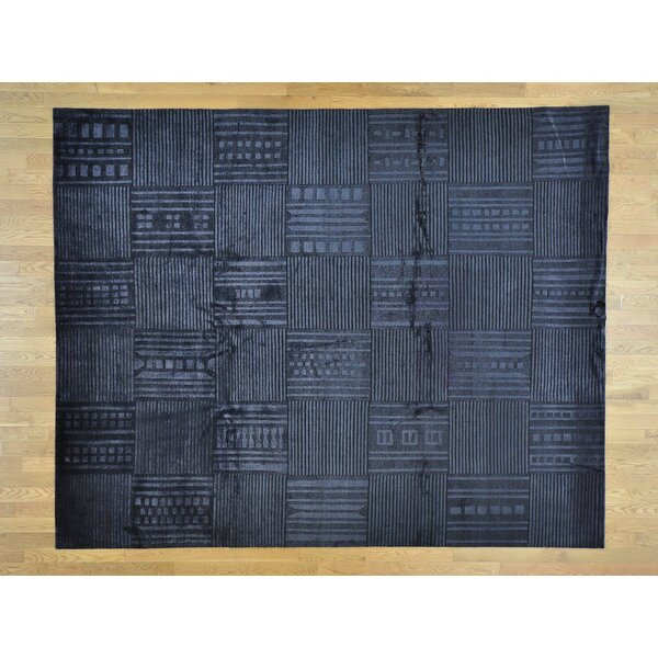 One-of-a-Kind Beverly Hand-Knotted Black Wool/Silk Area Rug by Isabelline