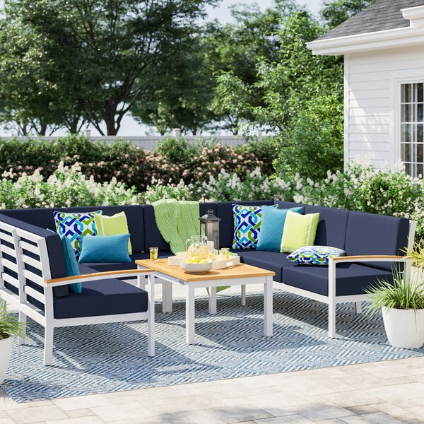 Caspian 7 Piece Sectional Seating Group with Cushions by Sol 72 Outdoor