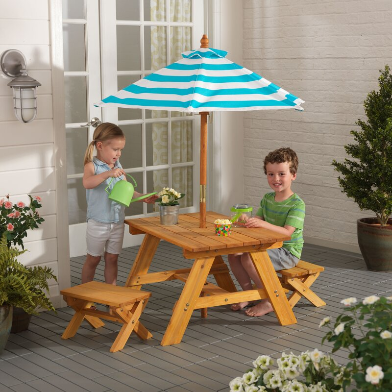 KidKraft Outdoor Kids' 4 Piece Picnic Table Set with ...