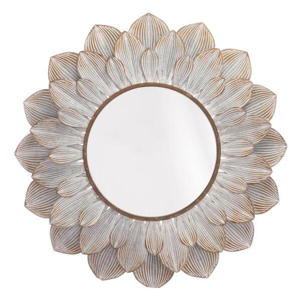 Derik Floral Distressed Accent Mirror by Bungalow Rose