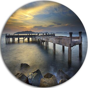 'Old Wood Boat Jetty into Blue Sea' Photographic Print on Metal by Design Art