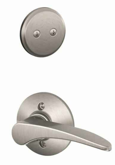 Interior Non-Turning Manhattan Lever and Interior Inactive Deadbolt Thumbturn by Schlage
