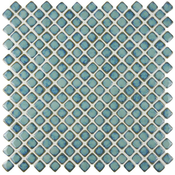 Gem 0.71 x 0.71 Porcelain Mosaic Tile in Glossy Marine by EliteTile