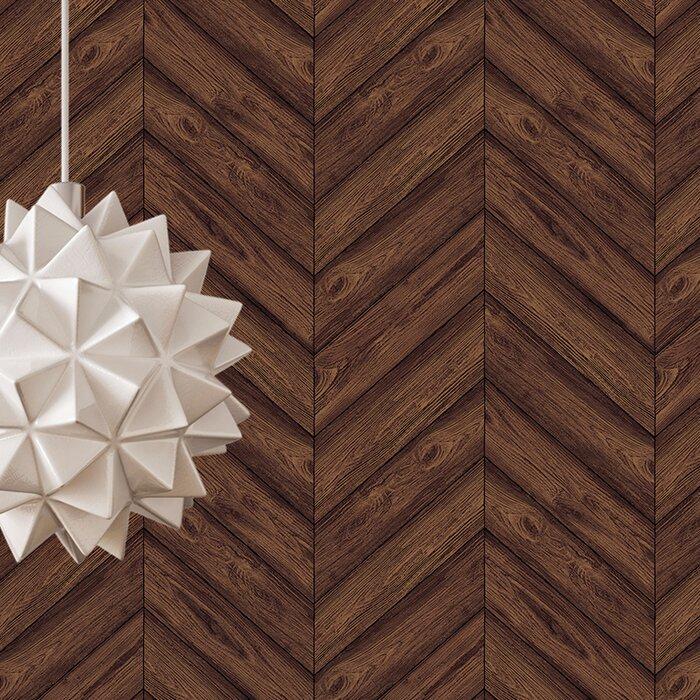Lembo Textured Herringbone Walnut 33 L X 20 5 W Abstract Peel And Stick Wallpaper Roll