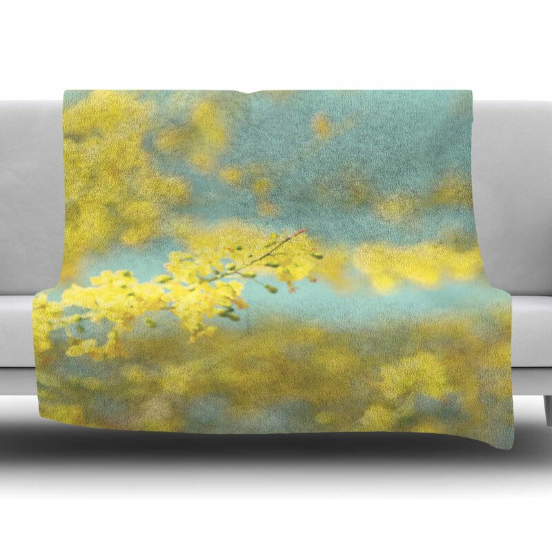 east urban home yellow blooms 2 by sylvia coomes fleece blanket