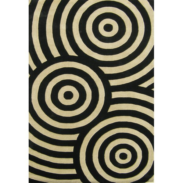 Hand-Tufted Black / Beige Area Rug by The Conestoga Trading Co.