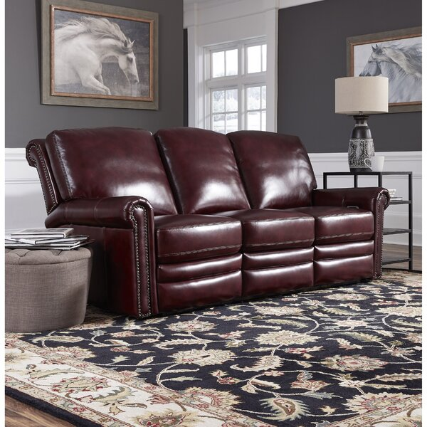 Online Shopping Discount Barris Leather Reclining Sofa by Canora Grey by Canora Grey