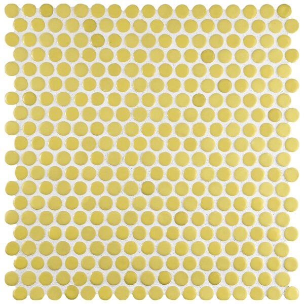 Astraea 0.62 x 0.62 Porcelain Mosaic Tile in Yellow by EliteTile