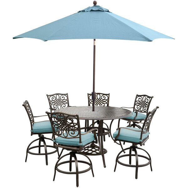 Lauritsen 7 Piece Metal Bar Set with Cushions by Three Posts