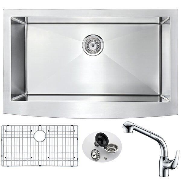 Elysian 32.875 L x 20.75 W Single Bowl Farmhouse Kitchen Sink with Faucet by ANZZI