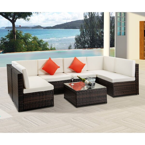 Aneeta Outdoor 7 Piece Rattan Sectional Seating Group with Cushion by Latitude Run