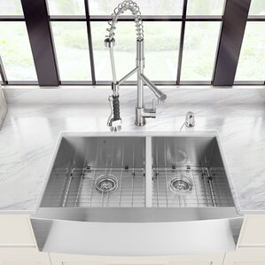 VIGO 36 inch Farmhouse Apron 60/40 Double Bowl 16 Gauge Stainless Steel Kitchen Sink with Zurich Stainless Steel Faucet, T...