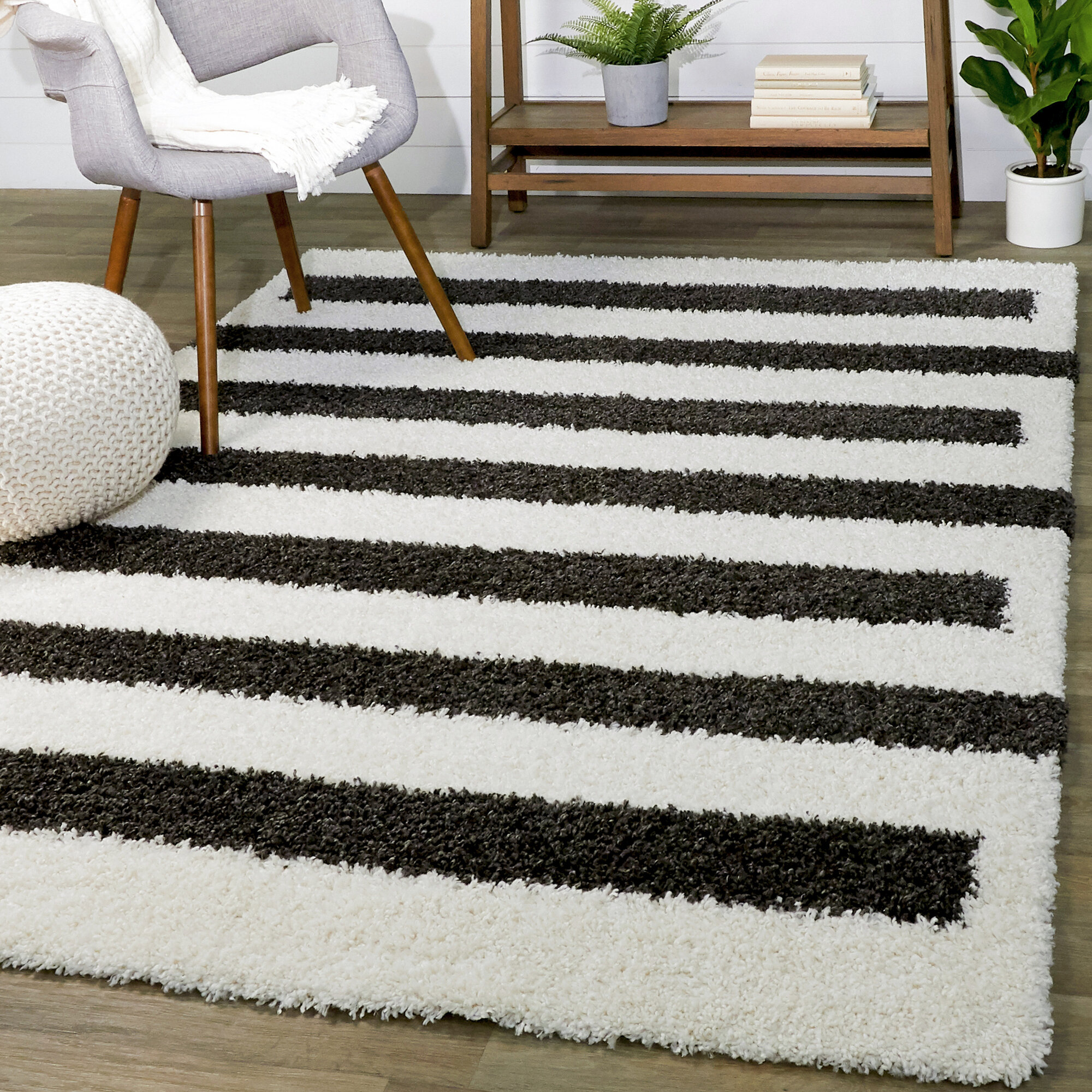 Wrought Studio Alishba Power Loom Charcoal White Rug Wayfair