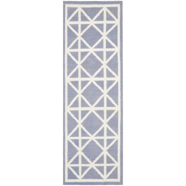 Dhurries Hand-Woven Wool Purple/Ivory Area Rug by Safavieh