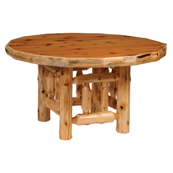 Traditional Cedar Log Round Dining Table by Fireside Lodge