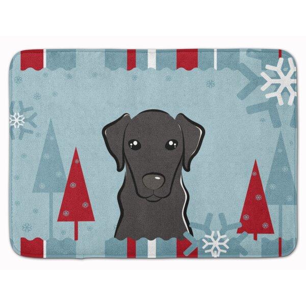 Winter Holiday Labrador Rectangle Microfiber Non-Slip Bath Rug