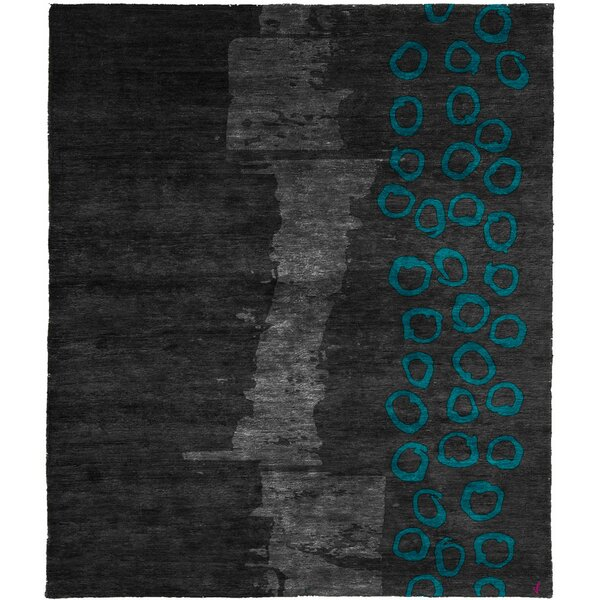 One-of-a-Kind Ephraim Hand-Knotted Traditional Style Black/Gray/Blue 8' x 10' Wool Area Rug