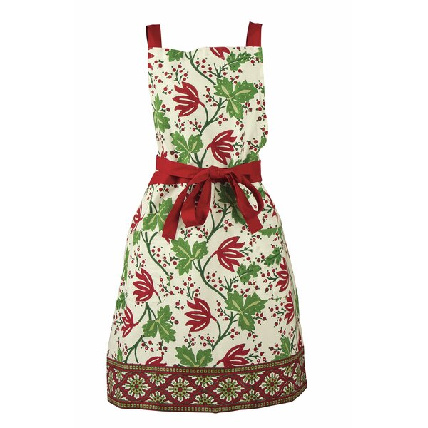 Cotton Greenery Block Print Apron by TAG