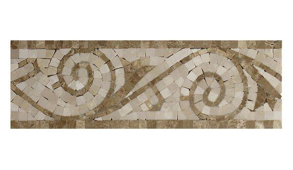 Emperador Light 4 x 12 Marble Botticino Art Border Tile in Beige by Seven Seas
