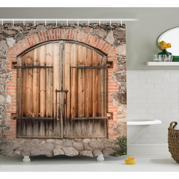 Wooden Tuscany Stone House Shower Curtain by East Urban Home