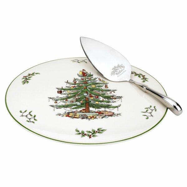 Christmas Tree Cake 2 Piece Plate and Server Set b